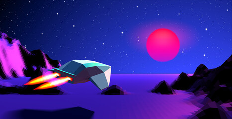 Arcade space ship flying to the sun over the blue landscape or canyon with 3D mountains, 80s style synthwave or retrowave illustration for music cover
