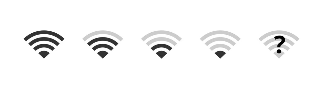 Wi-fi icons set. Wireless internet wifi signal level, wifi off, disconnected network. Communication symbols vector illustration for web, design, app, ui