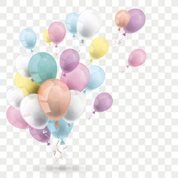 Pastel Colored Balloons Transparent