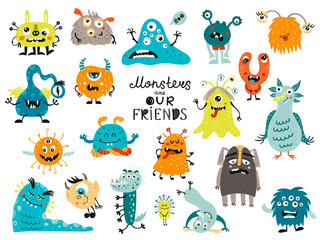 Big set of monsters. Isolated elements for stickers, cards, invites and posters