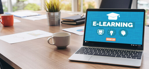 E-learning and Online Education for Student and University Concept. Video conference call...