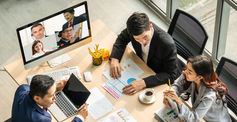 Video call group business people meeting on virtual workplace or remote office. Telework conference...