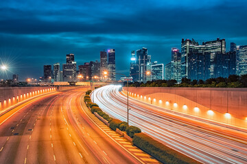 Fototapete - Singapore city  in the evening
