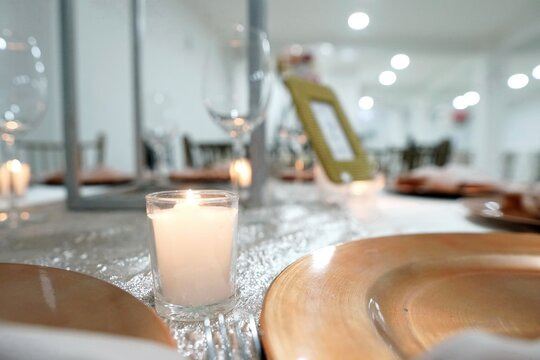 Closeup shot of an evening party table setting for an event like a wedding