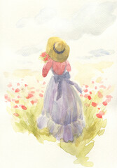 girl with flowers. fashion illustration. watercolor painting