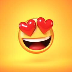 Falling in love emoji isolated on yellow background, heart shaped eyes emoticon tongue 3d rendering