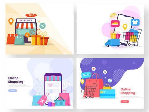 Online Shopping Concept Based Web Template Set with Desktop, Smartphone, Carry Bags, Gift Boxes, Location Track, Delivery Truck and Payment Card.