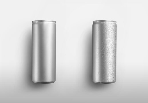 Set of silver high aluminum cans with beer, with water condensate, isolated on background.