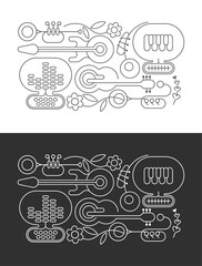 Line art designs isolated on a dark grey and on a white backgrounds Abstract Music and Flowers vector illustration.