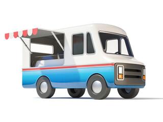 Food truck, street food, mobile fast food 3d rendering