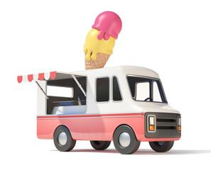 Ice cream truck, street food, 3d rendering