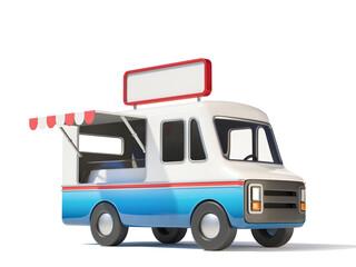 Food truck witn blank signboard on top of it, street food, mobile fast food 3d rendering