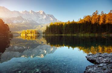 Wall Mural - Famous alpine lake Eibsee. Location Garmisch-Partenkirchen, Bavarian alp, Europe.