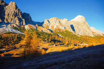 Wall Mural - Beautiful view of the Mt. Tofana di Rozes from Falzarego pass. Dolomite alps, Italy.