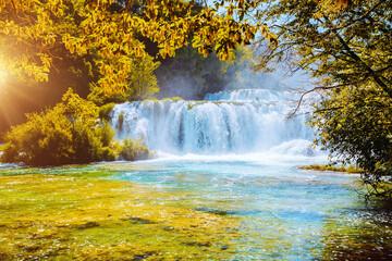 Wall Mural - Skradinski buk the most unusual waterfall in Krka National Park. Location place Croatia, Europe.
