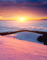Wall Mural - Fantastic air view of the valley covered with dense fog. Location Carpathian mountain, Ukraine, Europe.