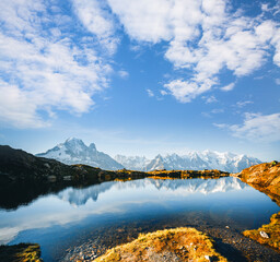 Wall Mural - Picturesque Mont Blanc glacier with Lac Blanc. Location place Chamonix, Aiguilles Rouges, Graian Alps, France, Europe.