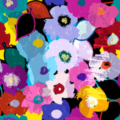 abstract background composition with flowers, leaves, strokes and splashes, on black, seamless