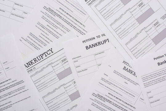 top view of bankruptcy petition papers