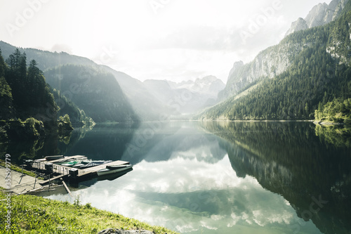Wall mural Stunning image of great alpine lake Vorderer Gosausee. Salzkammergut is a located in the Gosau Valley in Upper Austria.