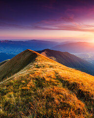 Wall Mural - wonderful sunset in mountain