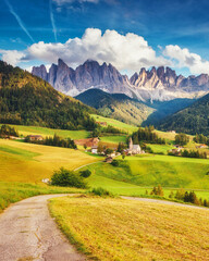 Wall Mural - View of the Funes valley. Dolomites, South Tyrol. Location Bolzano, Italy, Europe.