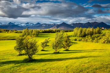 Wall Mural - Splendid Iceland landscape with golf course in sunny day. Location place Borgarnes, western Iceland, Europe.
