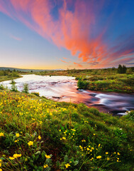 Wall Mural - Amazing view of river in morning light. Location place Geyser Park, Hvita river, Haukadalur valley area, Iceland, Europe.