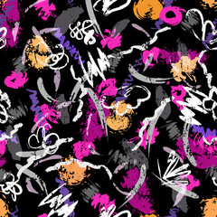 seamless abstract background pattern, with paint strokes and splashes, on black