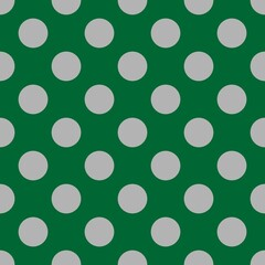Seamless vector pattern with grey polka dots on dark green background