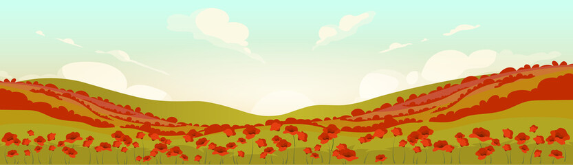 Tuscan poppy field at sunrise flat color vector illustration. Serene summer 2D cartoon landscape. Meadow with red wild flowers. Hillside scenery at sunset