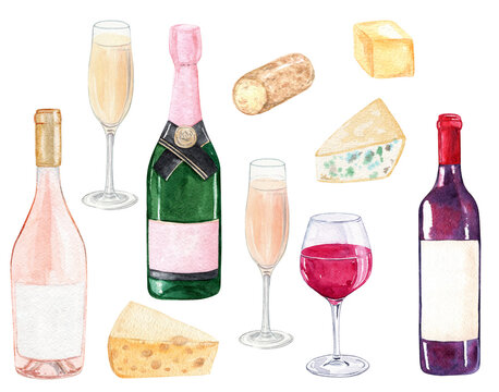 watercolor wine bottles and cheese set isolated on white background. Champagne and winery clip art. For cafe menu design, posters, restaurant decoration, invitation, bachelorette party