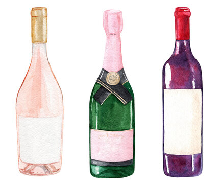 watercolor wine bottles set isolated on white background for restaurant menu design or poster print