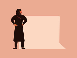 Young Muslim woman stays near a big speech square bubble. Free speech concept and female empowerment movement. Vector illustration