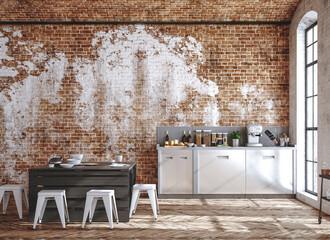 Kitchen interior in loft, industrial style, 3d render