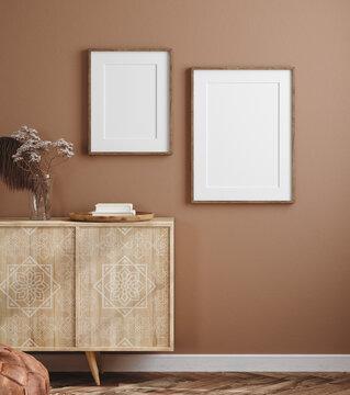 Poster mockup in cozy home interior, 3d render