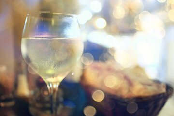 Tuinposter Alcohol evening in a restaurant, blurred abstract background, bokeh, alcohol concept, wine glasses in a bar