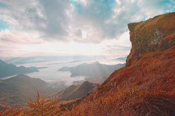 Canvas Prints Crimson Great morning view with the sunrise on the great mountain in Thailand.