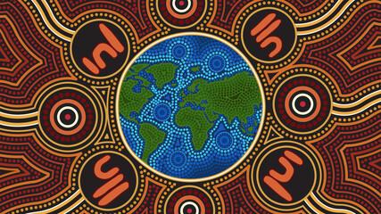 Globe dot art, Aboriginal dot art vector background