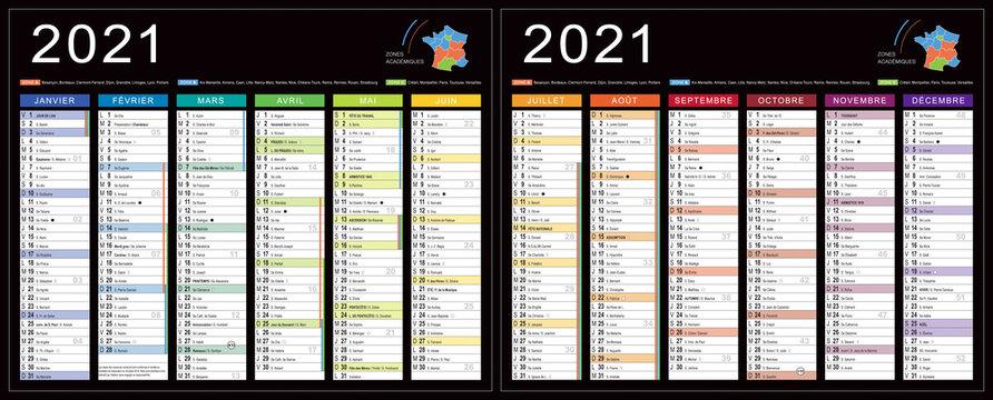 CALENDRIER 2021 noir modifiabe (base pour 265x210mm R-V) lunes, fêtes, fériés, vac,… typo arial narrow vectorisé et non vecto., 21 calques