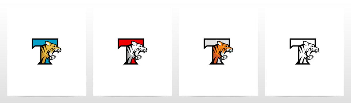 Tiger On Letter Logo Design T