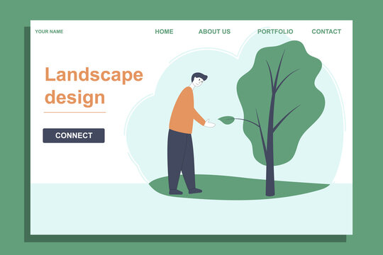 Landscaping design landing template. Eco concept. Handshake of man and tree