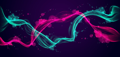 Dynamic particles mutual sound wave flowing over dark. Dotted double curves vector abstract background. Beautiful 3d wave shaped array of shining blended points. Fotoväggar