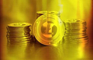 Litecoin (LTC) digital crypto currency. Stack of golden coins. Cyber money.