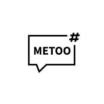 Speech bubble hashtag metoo icon. Clipart image isolated on white background