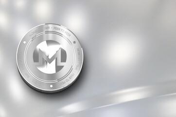 Monero (XMR) digital crypto currency. Silver coin. Cyber money.
