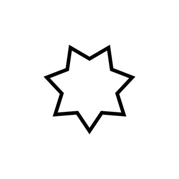 7 point star outline icon. Clipart image isolated on white background