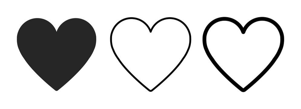 Heart icon in 3 types. Heart illustration.