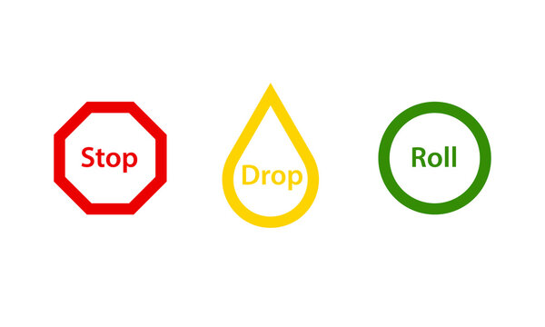 Stop Drop Roll fire safety poster. Clipart image isolated on white background