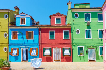 Wall Mural - Street with colorful old houses in Burano